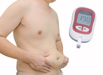Man with overweight and glucometer with high blood sugar level.