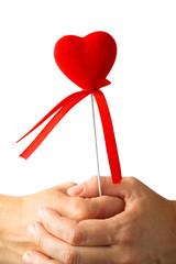 red heart symbol in hands