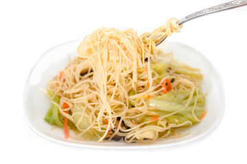 Stir fried noodles on white background ,Chinese food