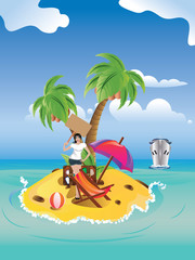 Girl on Tropical Island
