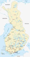 finnland karte, städte in finnischer und schwedischer sprache