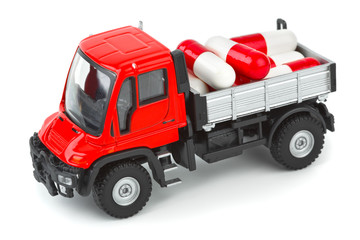 Toy truck with pills