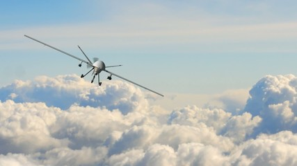 an armed predator drone in flight on the camera