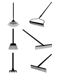 Black silhouettes of rake on a white background, vector
