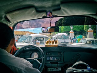 Inside Volkswagen Beetle Taxi in the Streets of Taxco, Mexico