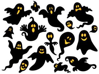 Set Halloween-Gespenster mit glühenden Augen – Vektor
