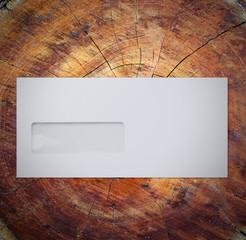 Envelope on wood