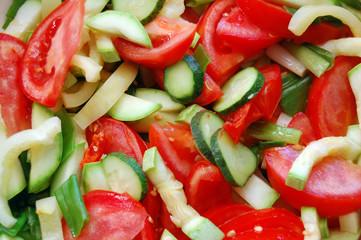 closeup of chopped fresh seasonal vegetables