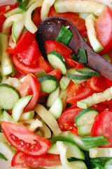 closeup of chopped fresh seasonal vegetables