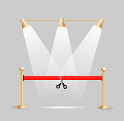Scissors cutting red ribbon concept , vector illustration.  Real