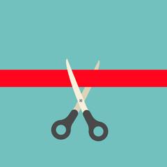 Scissors cutting red ribbon concept, vector illustration