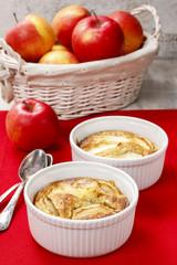 Apple pie in ceramic bowl