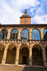 Old medieval library building at city of Bologna