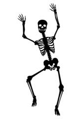 Menschliches Skelett, tanzend, Tanz, lachen, schwarz, Vektor