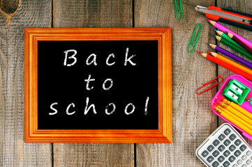 Back to school. Frame and school tools.