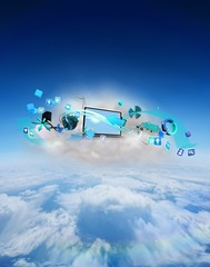 Composite image of laptop on floating cloud with apps