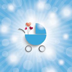 Blue Sky Rays Blue Boy Baby Buggy