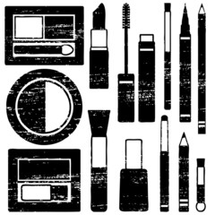 Scratched makeup silhouette icons vector set