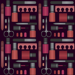 Vector seamless pattern with nail beauty and care products