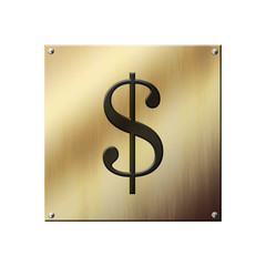 Icone plaque en or : dollars