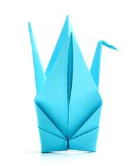 Blue origami bird.