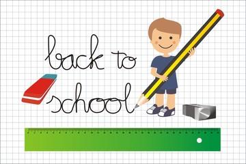 Cuadrícula back to school material escolar