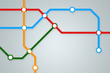 Abstract subway map with colorful lines