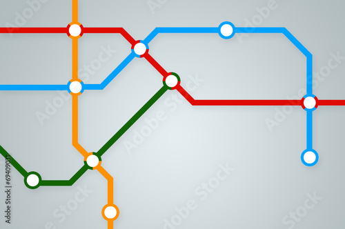 Abstract subway map with colorful lines - 69409031