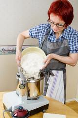 Flour into mixer