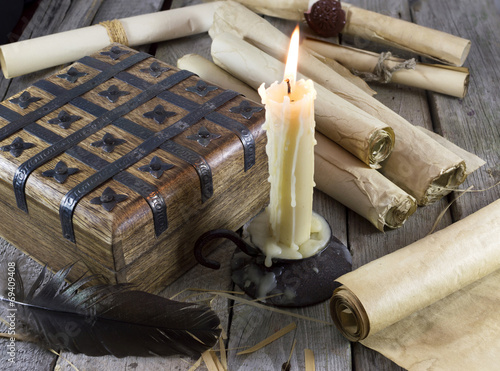 Poster Still life with box, candle and scrolls