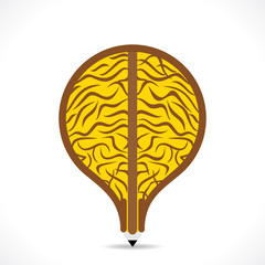 creative big brain design in pencil design vector