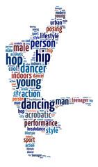 Words illustration of a breakdancer over white background