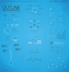 Outline infographic business vector elements. Modern thin line.