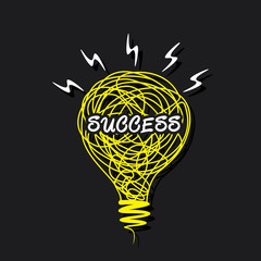creative success word on sketch bulb design vector