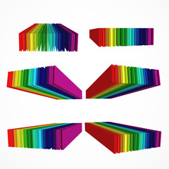 Rainbow colored 3d barcode set.