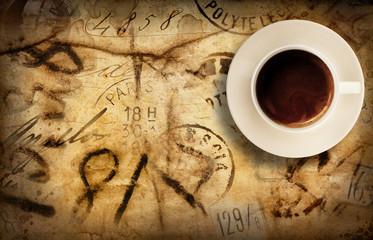 vecchia cartolina postale con tazzina di caffè