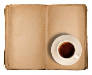 vecchio libro vuoto con tazzina di caffè