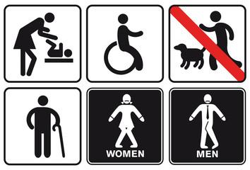 Hinweistafeln, Wegweiser Behinderte
