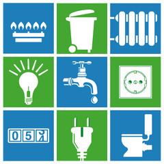 Wasser, Strom, Gas, Versorgung, Haushalts Entsorgung