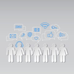 People social network and relationships vector background