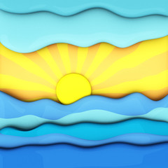 Summer sunset over sea waves, abstract 3d illustration