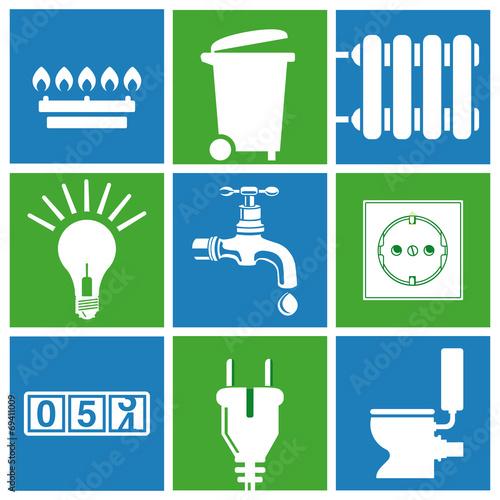 Wasser, Strom, Gas, Versorgung, Haushalts Entsorgung - 69411009