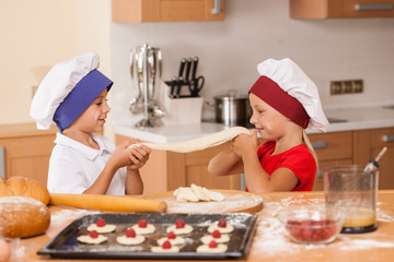 little children making bakery and playing.