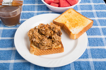 Barbecue Port Sandwich with Sauce and Watermelon