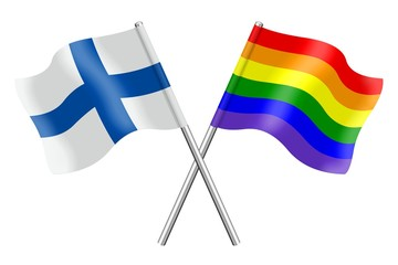 Flags: Finland and rainbow