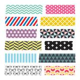 Fototapety Set of colorful patterned washi tape stripes