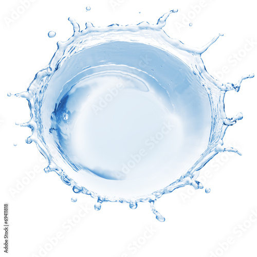 Water splash isolated on white background. Top view - 69411818