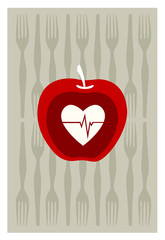 Vector of red apple on gray background
