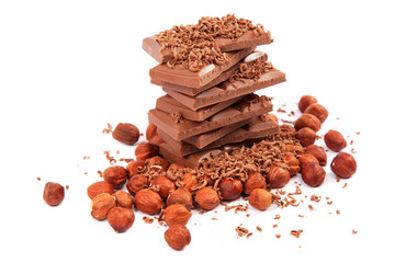 Chocolate and nuts on white background.