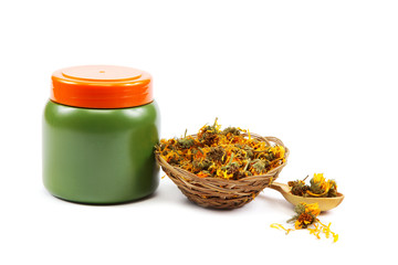 Spa collection and herbs on white background.